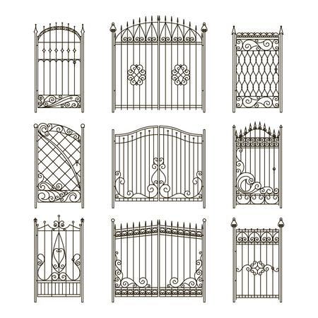철 문 또는 게이트 소용돌이, 테두리 및 기타 장식 요소 벡터 그림 일러스트