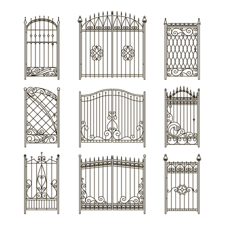Vector pictures of iron doors or gates with swirls, borders and other decorative elements Ilustrace