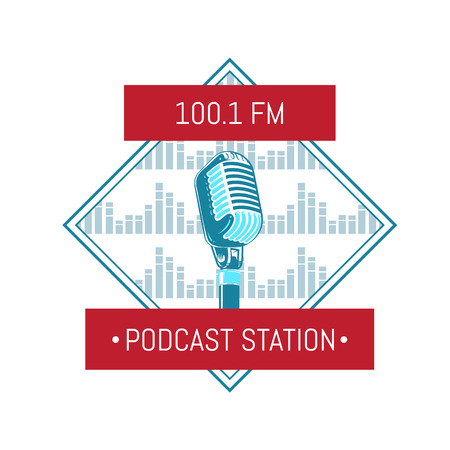 Vector podcast station logo with microphone on sound waves background Illustration