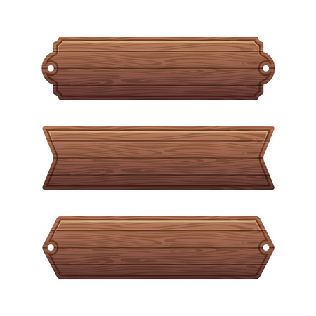 plywood: Set of various wooden banners