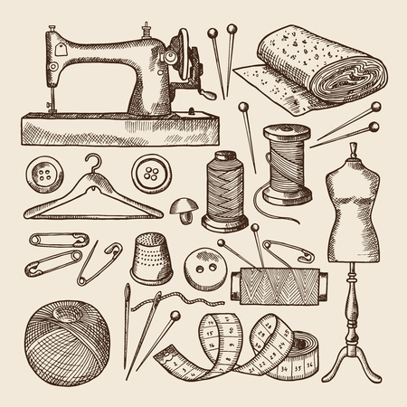 drawing pin: Vintage sewing symbols set. Vector pictures in hand drawn style Illustration