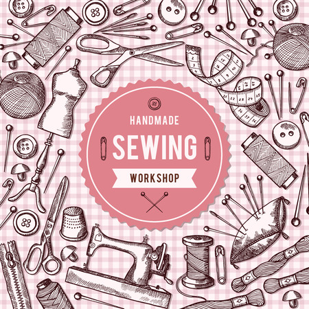 hangers: Vector background illustration of needlework tools and place for your text