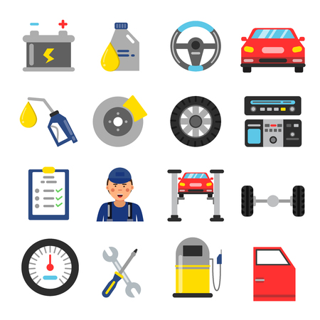 auto repair: Car service icons set. Different parts of automobile. Vector illustrations in flat style