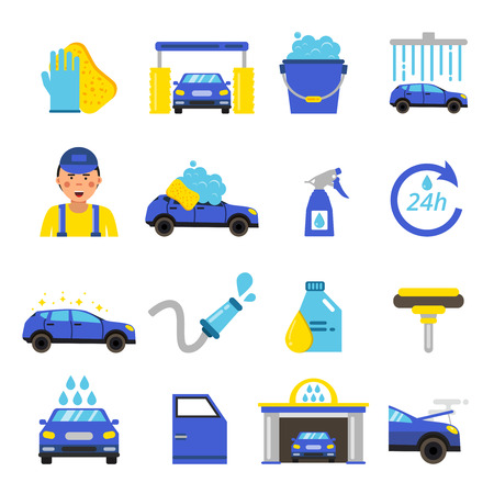 car: Vector of car washing equipment. Cleaning service for automobiles Illustration