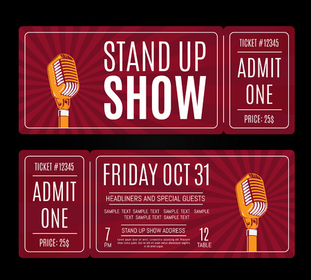 Vector stand up show tickets with retro microphone on sunburst background