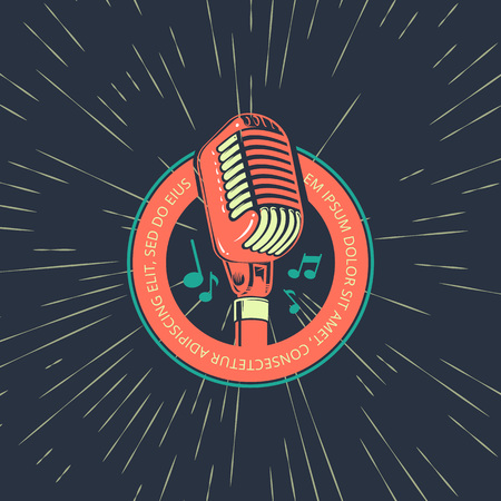 Karaoke music club, bar, audio record studio vector logo with microphone on vintage Çizim