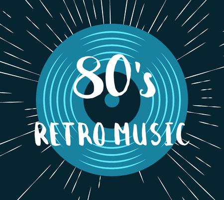 Vector 80s retro music vinyl record illustration Illustration