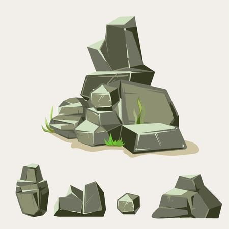 cobble: Set of rocks. Rock stone with grass. Cartoon isometric 3d flat style. Set of different boulders Illustration