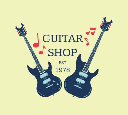 heavy: Guitar shop  emblem with musical notes. Musical shop sign illustration Illustration