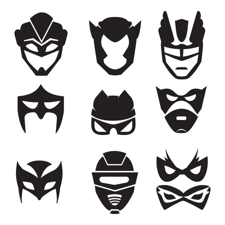warriors: Black silhouette of superheroes masks. Vector monochrome illustrations set isolated Illustration