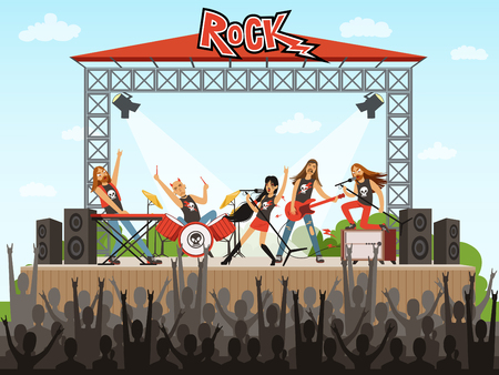 무대에 락 밴드입니다. 사람들이 콘서트. 음악 공연. 만화 스타일의 벡터 일러스트 레이션