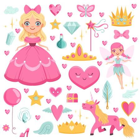 Princess with fairytale unicorn, wizard and their magic elements. Vector pictures set Illustration