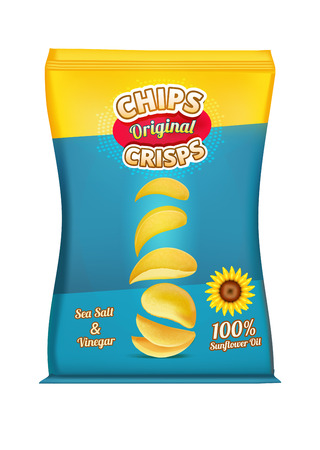 pouch: Package design of snacks or chips. Vector template