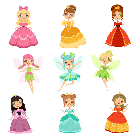 Cartoon funny fantasy princesses in different dresses and costumes. Fairytale vector illustration set