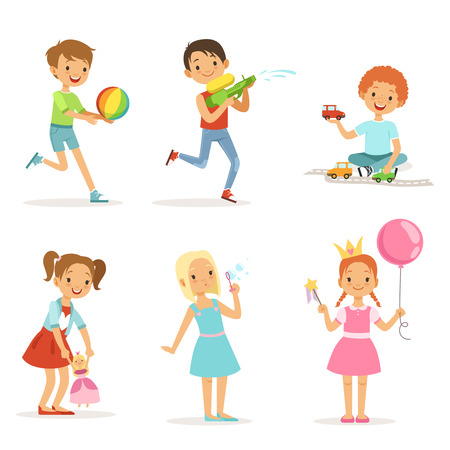 Happy children playing with funny toys on playground. Vector illustrations isolated
