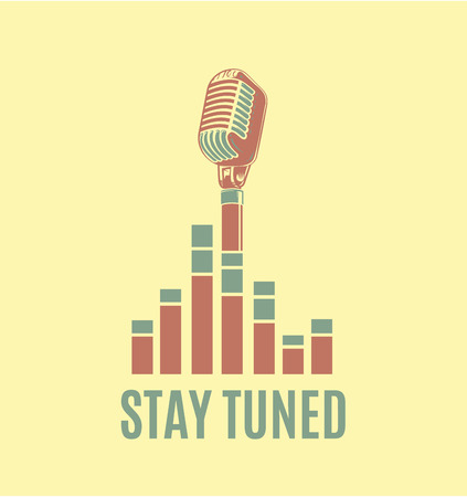 Vector stay tuned sign with retro microphone and sound waves Çizim