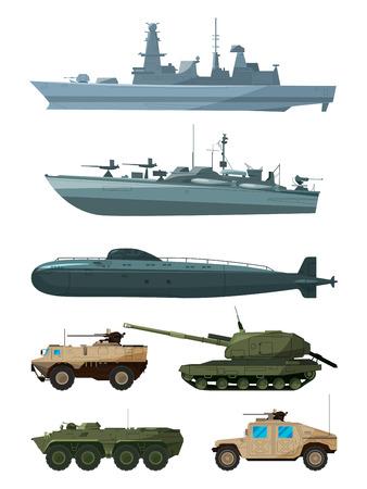 전함과 지상군의 장갑 차량. 군사 수송 지원 일러스트