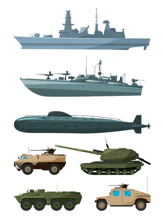 Warships and armored vehicles of land forces. Military transport support Vectores