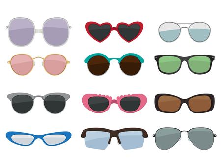 Vector isolated set of colored sunglasses