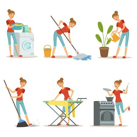 Ménagère fait différents travaux ménagers. Occupation de la mère. Jeu de personnages de dessin animé de vecteur