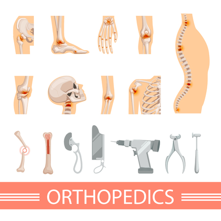 Orthopedic icons set. Human skeleton, bones and different medical accessories