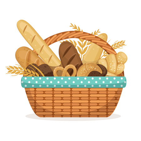 Vector illustration for bakery shop. Basket with wheat and fresh bread Illustration