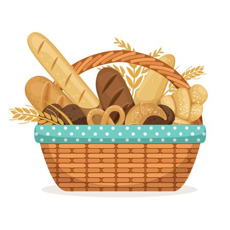 Vektorabbildung für Bäckereishop. Korb mit Weizen und frischem Brot
