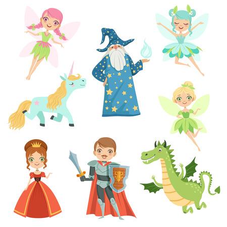 동화 캐릭터가 다른 의상으로 설정되었습니다. 공주님, 재미있는 유니콘. 마법사, 용과 기사. 만화 스타일의 벡터 일러스트 일러스트
