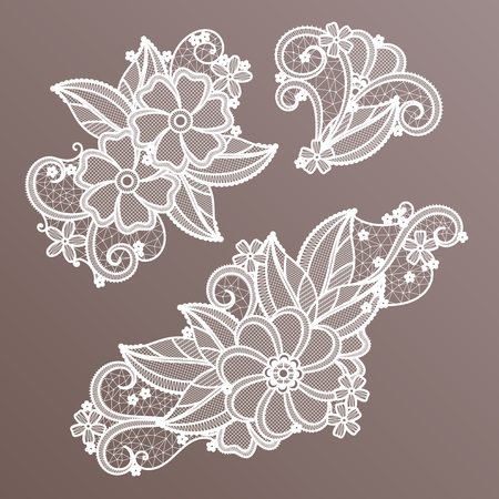 Lace fashion handmade decoration with flowers. Vector needlework. Handmade ornament pattern textile illustration
