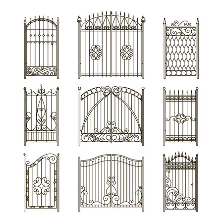 Iron gates with decorative elements. Vector monochrome pictures set. Fence and gate wrought silhouette, elegance collection fence border illustration