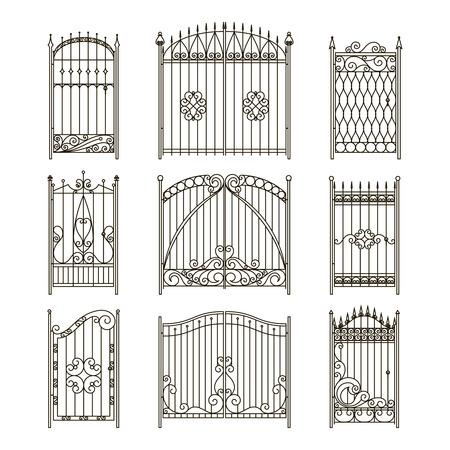 Portes de fer avec des éléments décoratifs. Ensemble d'images monochromes vectorielles. Clôture et porte silhouette forgée, illustration de bordure de clôture collection élégance Vecteurs