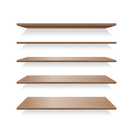 Brown wood shelves with shadows. Furniture wooden empty bookshelf on wall, vector illustration