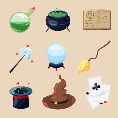 Diferentes símbolos de magos y magos. Libro de misterio, pergamino mágico y varita mágica. Iconos de vector en estilo de dibujos animados. Libro mágico y ilustración de mago mágico paranormal Ilustración de vector