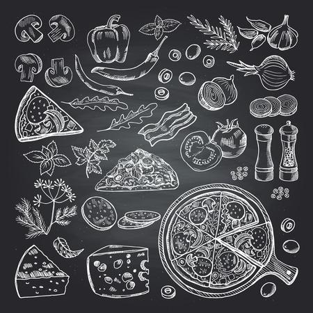 Illustrazioni di ingredienti alimentari su nero tazze di pizza. set di cucina italiana Vettoriali