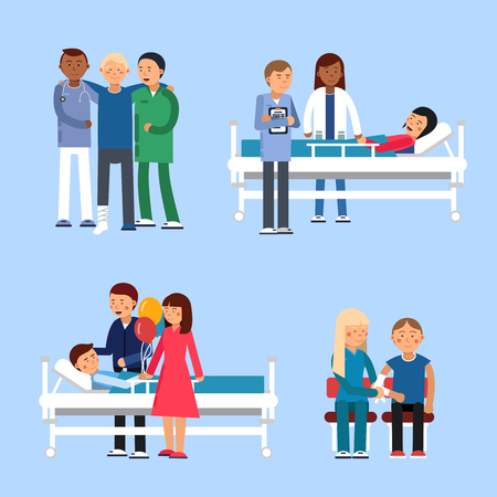 sick bed: Care of patients in hospital. Medical therapy. Vector illustrations Illustration