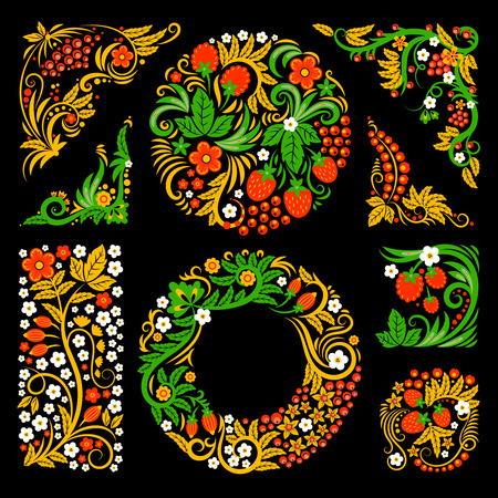 Floral decorative elements of traditional russian culture. Vector design pictures in khokhloma style