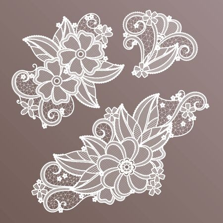 Lace fashion handmade decoration with flowers. Vector needlework