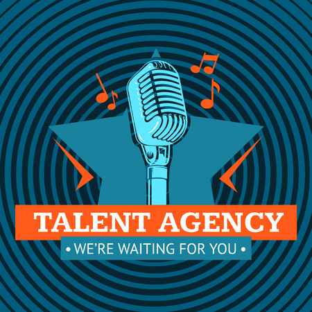 Vector talent agency logo, emblem with star and retro microphone on radio signal circles background