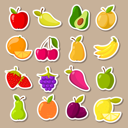 Vector set of fruit and berries stickers