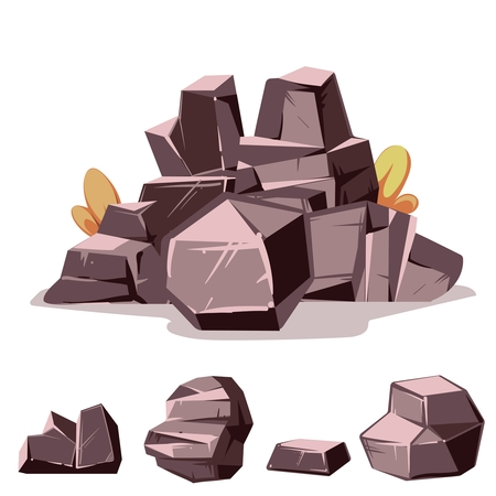 granite: Set of rocks. Cartoon isometric 3d flat style