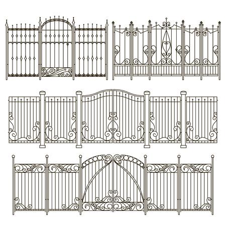 Eisentor und Zaundesign mit verschiedenen dekorativen Elementen. Vektorabbildungen Standard-Bild - 85336267