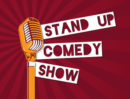 Vector stand up comedy microphone illustration on sunburst background Stok Fotoğraf - 85406252