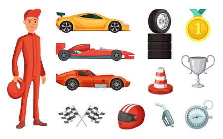 스포츠 자동차와 다른 레이싱 아이콘이 설정합니다. 엔진, 헬멧, 모터 및 기타 수식 기호