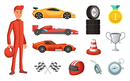 Sport cars and different racing icons set. Engine, helmet, motor and other formula symbols Stock Illustratie