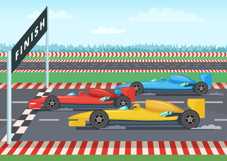 Race cars on finish line. Sport background illustration Illustration