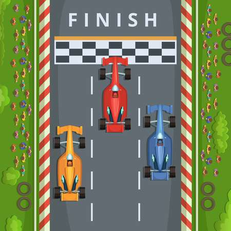 Racing cars on finish line. Top view racing illustrations Иллюстрация