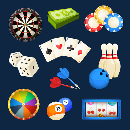 Dice, snooker, casino games, cards and other popular entertainments. Vector icon set Vettoriali