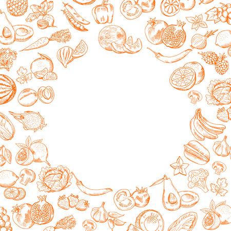 あなたのテキストのために丸い空を設定された落書き果物や野菜を描いたベクトル手