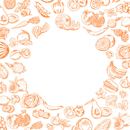 벡터 손으로 그린 낙서 과일과 야채 라운드 빈 텍스트 설정