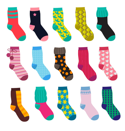 Set of funny socks with different patterns.